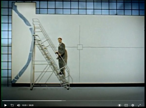 Screenshot from the video Form, Design and the City, showing a man standing in front of large blank canvas representing Philadelphia.